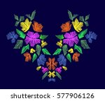 floral pattern   neck line... | Shutterstock .eps vector #577906126