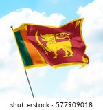 flag of sri lanka raised up in... | Shutterstock . vector #577909018