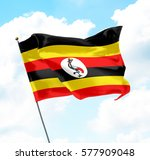 flag of uganda raised up in the ... | Shutterstock . vector #577909048