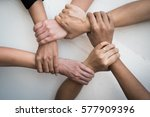 teamwork of young people united ... | Shutterstock . vector #577909396