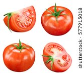 tasty tomatoes collection... | Shutterstock . vector #577915018