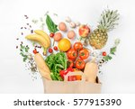 paper bag of different health... | Shutterstock . vector #577915390