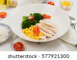 balanced meal or diet concept.... | Shutterstock . vector #577921300