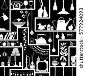 seamless pattern with shelves... | Shutterstock .eps vector #577924093