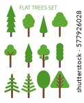 flat trees set isolated in... | Shutterstock .eps vector #577926028