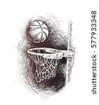 basketball basket shot  hoop ... | Shutterstock .eps vector #577933348
