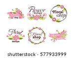 floral shop badge decorative... | Shutterstock .eps vector #577933999