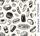 fast food pattern. hand drawn... | Shutterstock .eps vector #577935490