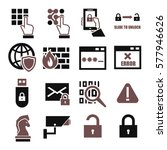 Spyware  Fire Wall Icon Set