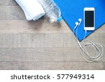 flat lay of mobile phone with... | Shutterstock . vector #577949314