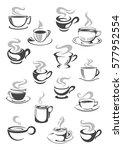 coffee cup and tea mug icon set.... | Shutterstock .eps vector #577952554