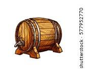 wooden barrel of beer or wine...   Shutterstock .eps vector #577952770