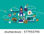 start up business concept... | Shutterstock .eps vector #577953790