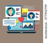 social media theme  modern flat ... | Shutterstock .eps vector #577953799