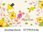 easter background with cute... | Shutterstock .eps vector #577955146