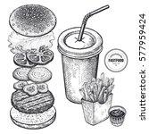 fast food vector illustration.... | Shutterstock .eps vector #577959424