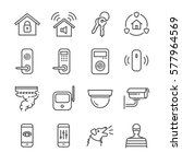 home security line icon set.... | Shutterstock .eps vector #577964569