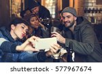 use mobile phone selfie photo... | Shutterstock . vector #577967674