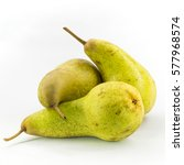 Small photo of Three Abate Fetel pears isolated on white background.