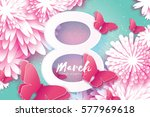 8 march. happy mother's day.... | Shutterstock .eps vector #577969618