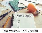 2017 ideas message on notebook  ... | Shutterstock . vector #577970158