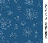 seamless monochrome floral...   Shutterstock .eps vector #577976890