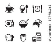 Breakfast Icons Set. Black On ...