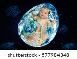 planet in the form of egg with...   Shutterstock . vector #577984348