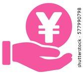 yen coin payment hand vector... | Shutterstock .eps vector #577990798