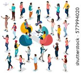 trendy isometric people and