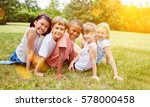 happy group of kids have fun in ... | Shutterstock . vector #578000458