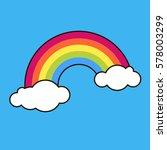 rainbow  sky  clouds. sticker ... | Shutterstock .eps vector #578003299