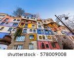 hundertwasser house in vienna... | Shutterstock . vector #578009008