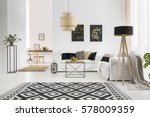 apartment with white brick wall ... | Shutterstock . vector #578009359