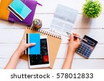 accountant verify the saving... | Shutterstock . vector #578012833