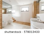 light bathroom with toilet  two ... | Shutterstock . vector #578013433