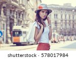 fashionably dressed woman on... | Shutterstock . vector #578017984