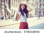 fashionably dressed woman on... | Shutterstock . vector #578018050