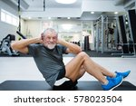 fit senior man in gym working... | Shutterstock . vector #578023504