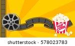 film strip border with popcorn... | Shutterstock .eps vector #578023783