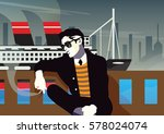 fashionable man with a... | Shutterstock .eps vector #578024074