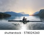 a young single scull rowing... | Shutterstock . vector #578024260
