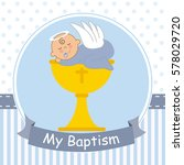 christening card. baby boy... | Shutterstock .eps vector #578029720