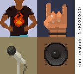 rock pixel art video game style ...   Shutterstock .eps vector #578030350