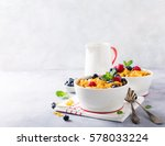 healthy breakfast with corn... | Shutterstock . vector #578033224