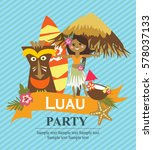 luau party invitation card | Shutterstock .eps vector #578037133
