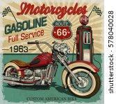 vintage gasoline route 66... | Shutterstock .eps vector #578040028