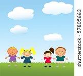 vector happy kids. | Shutterstock .eps vector #57805663