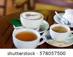 coffee and tea in cup on table | Shutterstock . vector #578057500
