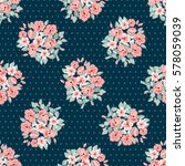 vintage feedsack dots pattern... | Shutterstock .eps vector #578059039